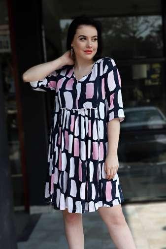 Plus Size Multicolor Flared Dress