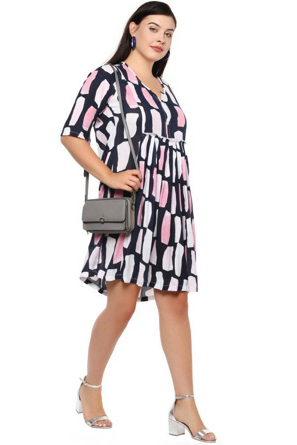Plus Size Multicolor Flared Dress-2