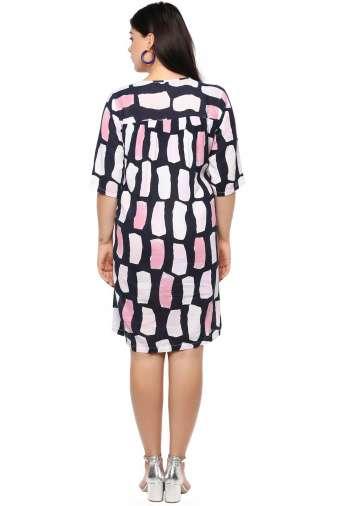 Plus Size Multicolor Flared Dress-4