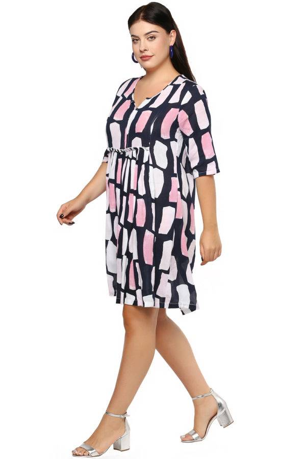 Plus Size Multicolor Flared Dress-3