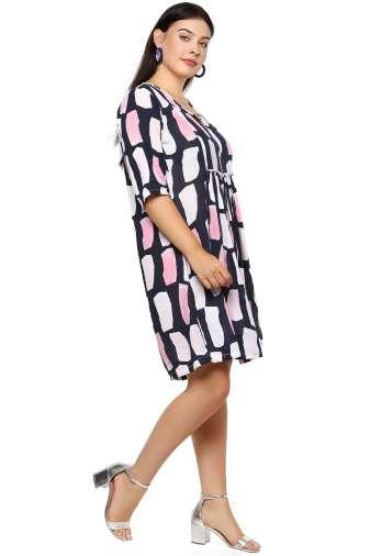 Plus Size Multicolor Flared Dress-5