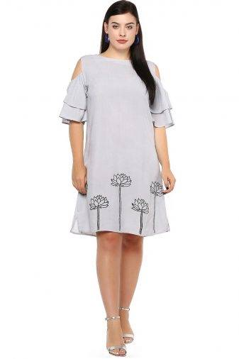 Plus Size Grey Flared Dress-1