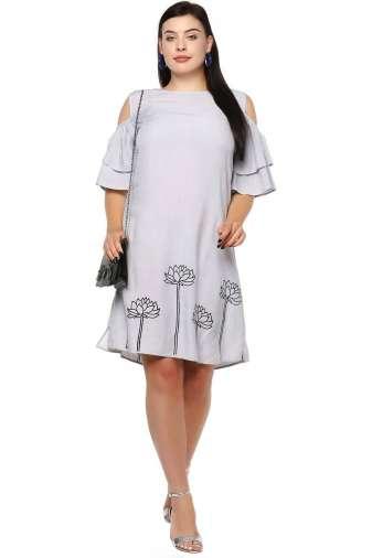 Plus Size Grey Flared Dress-2