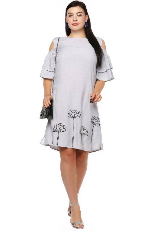 Plus Size Grey Flared Dress-2
