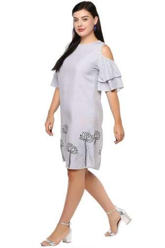 Plus Size Grey Flared Dress-3