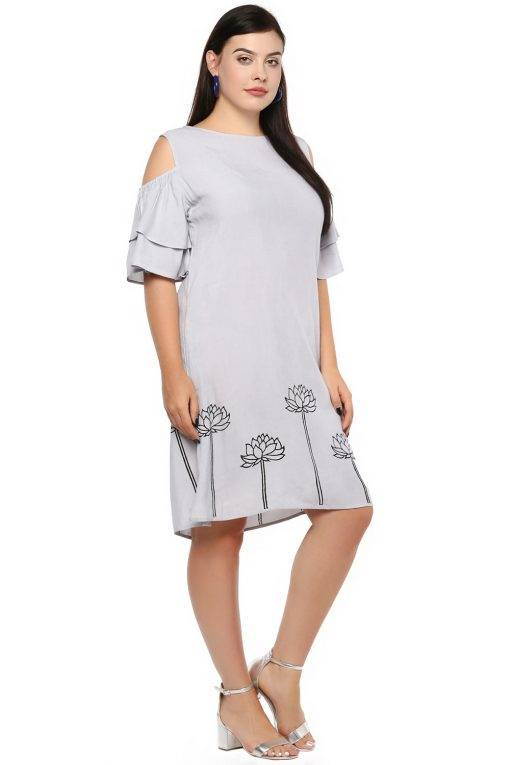 Plus Size Grey Flared Dress-5