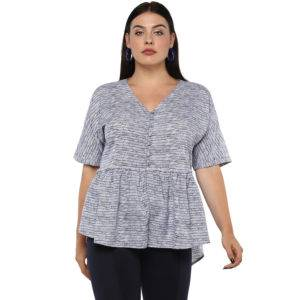 Plus Size Peplum Top-1