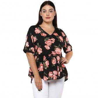 Plus Size Floral Peplum Top-2