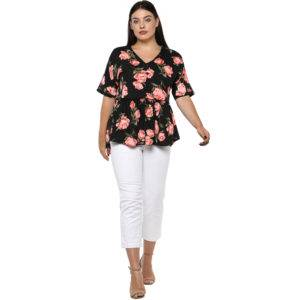Plus Size Floral Peplum Top-1