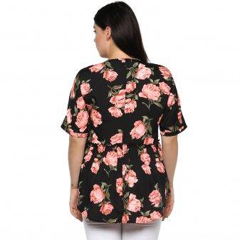 Plus Size Floral Peplum Top-4
