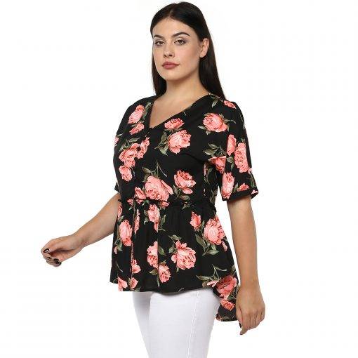 Plus Size Floral Peplum Top-3