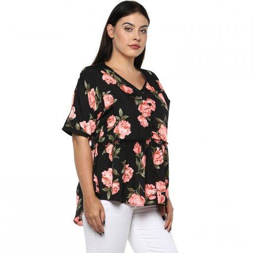 Plus Size Floral Peplum Top-5