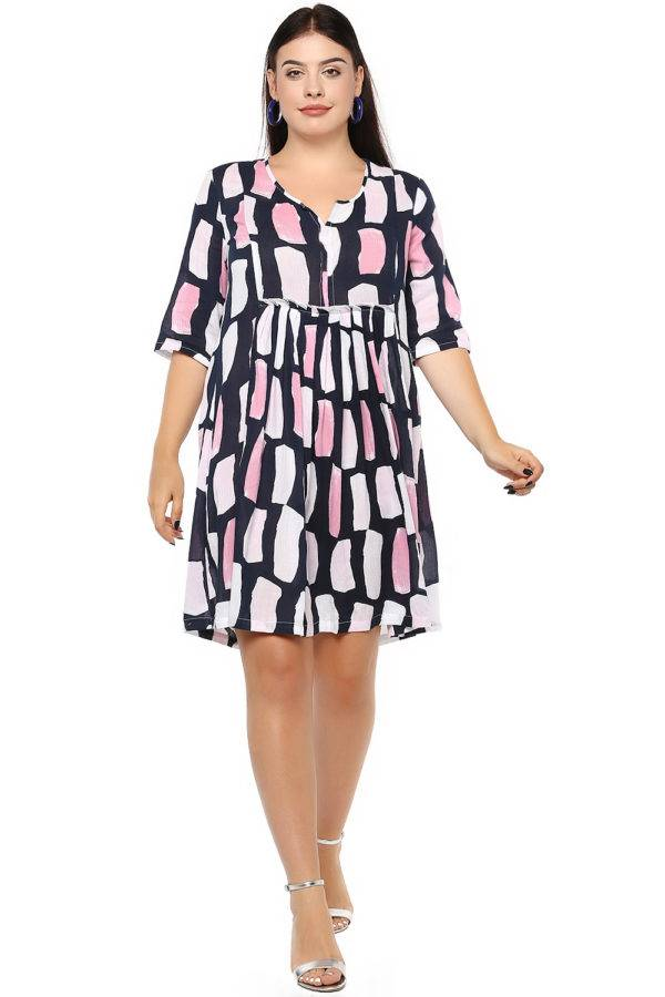 Plus Size Multicolor Flared Dress-1
