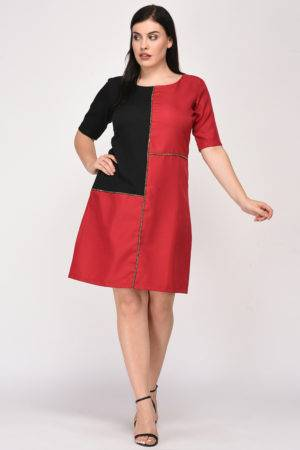 Maroon Black Color Block Dress