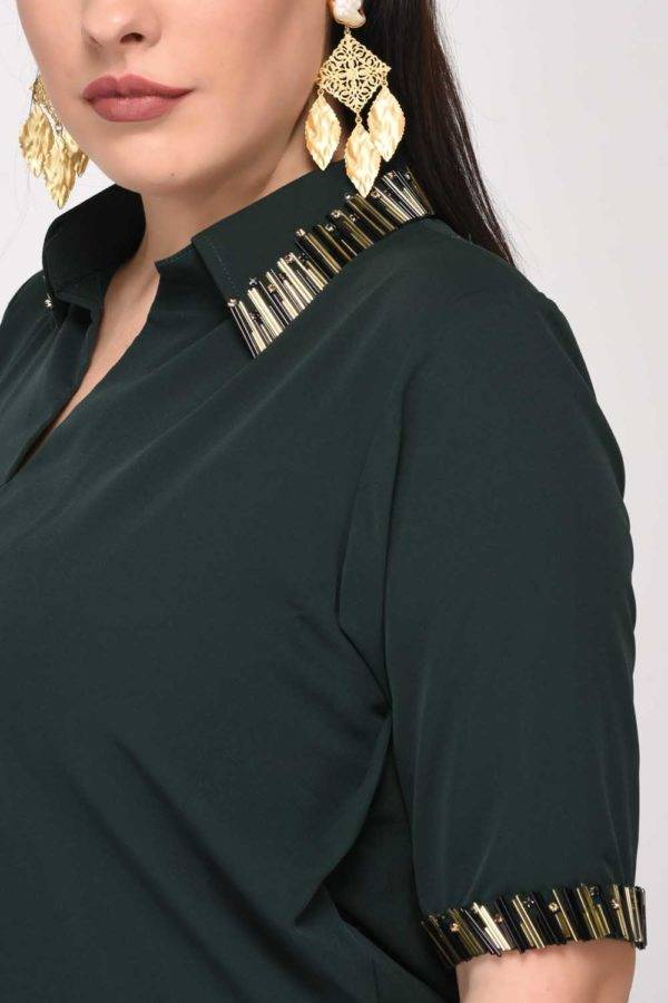 Bottle Green Asymmetric Ruched Dress-detailshot