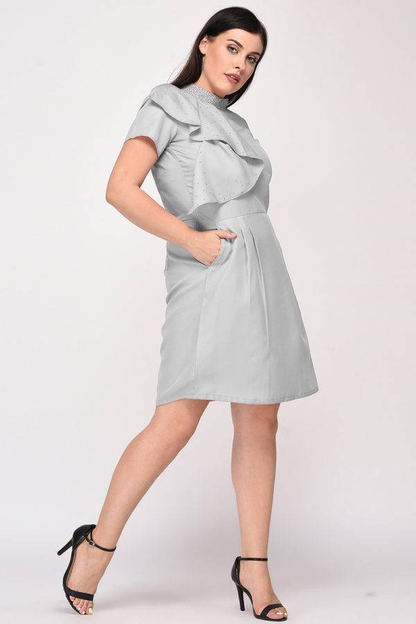 Grey Color Pearl Scattered Dress