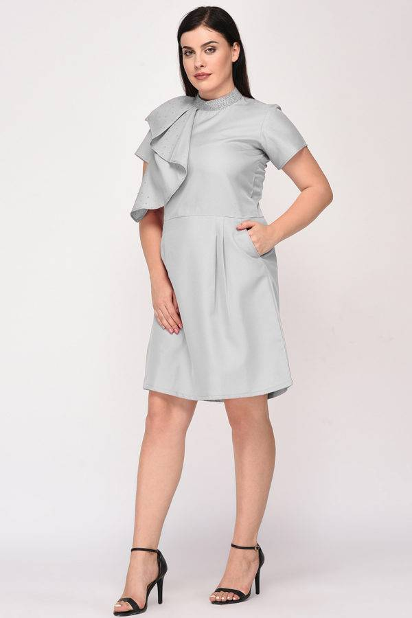 Grey Color Pearl Scattered Dress2