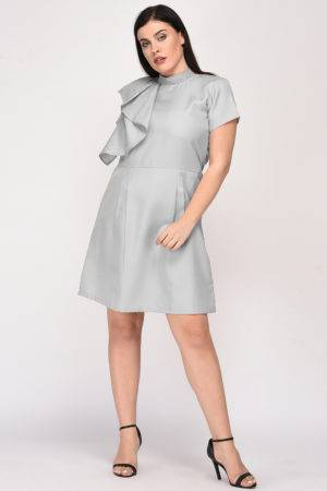 Grey Color Pearl Scattered Dress-6