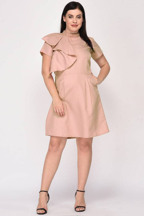 Nude Color Pearl Scattered Dress