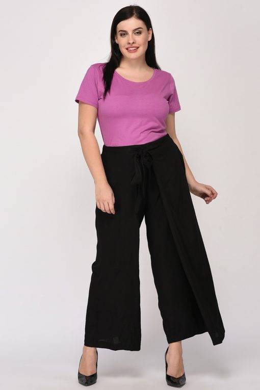 Plus Size Black Wrap Trouser
