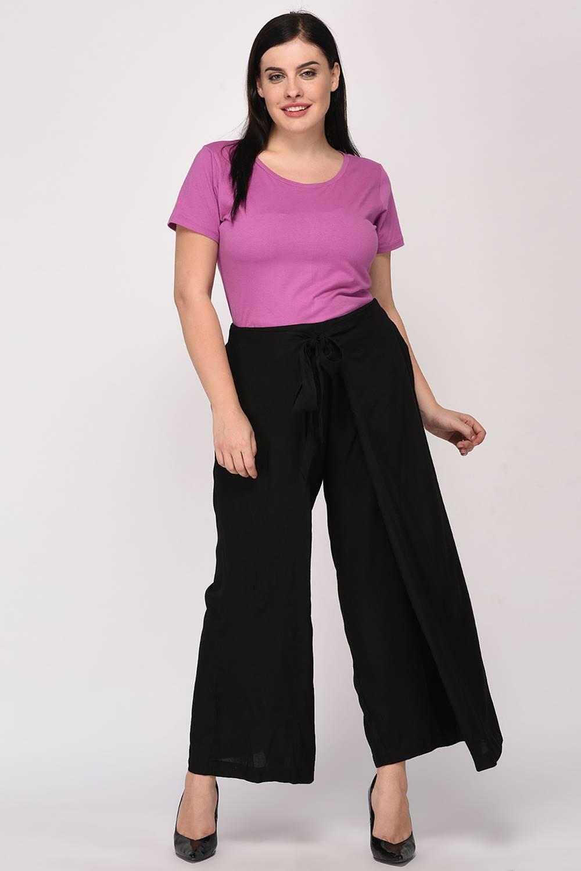 Plus Size Black Wrap Trouser