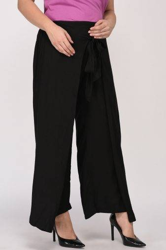 Plus Size Black Wrap Trouser-2