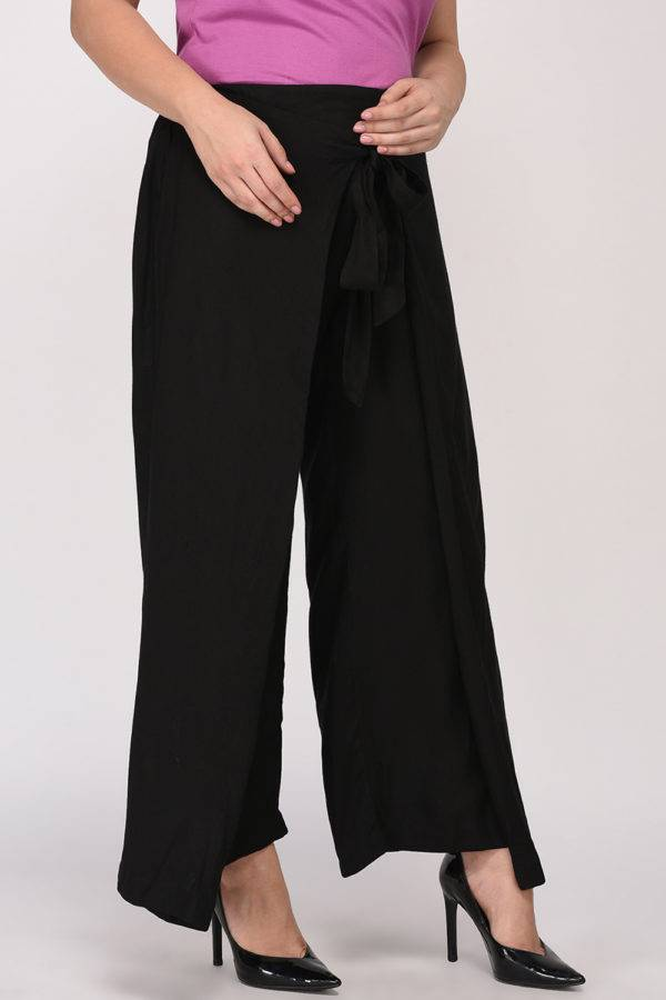 Plus Size Black Wrap Trouser-2