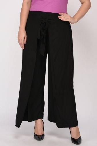 Plus Size Black Wrap Trouser-3