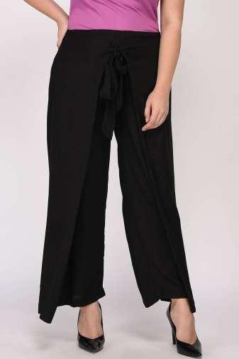 Plus Size Black Wrap Trouser-5