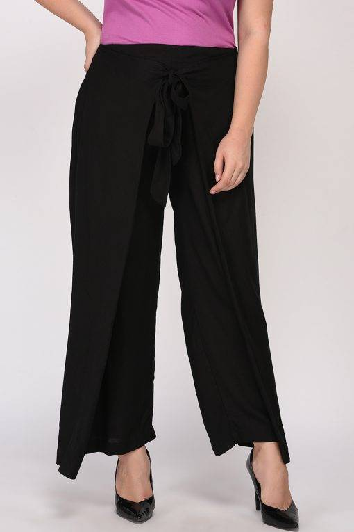 Plus Size Black Wrap Trouser-5