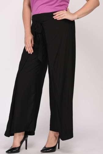 Plus Size Black Wrap Trouser-7