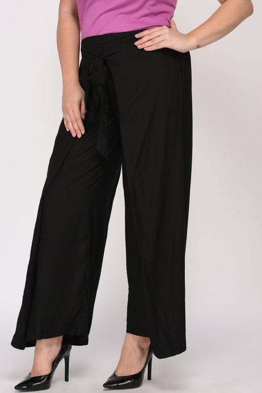 Plus Size Black Wrap Trouser-7