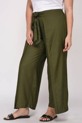 Plus Size Olive Green Trouser-2