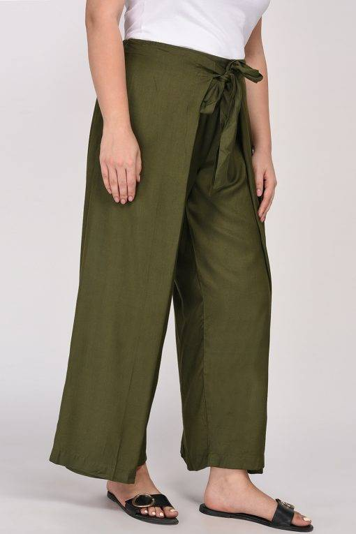 Plus Size Olive Green Trouser-3