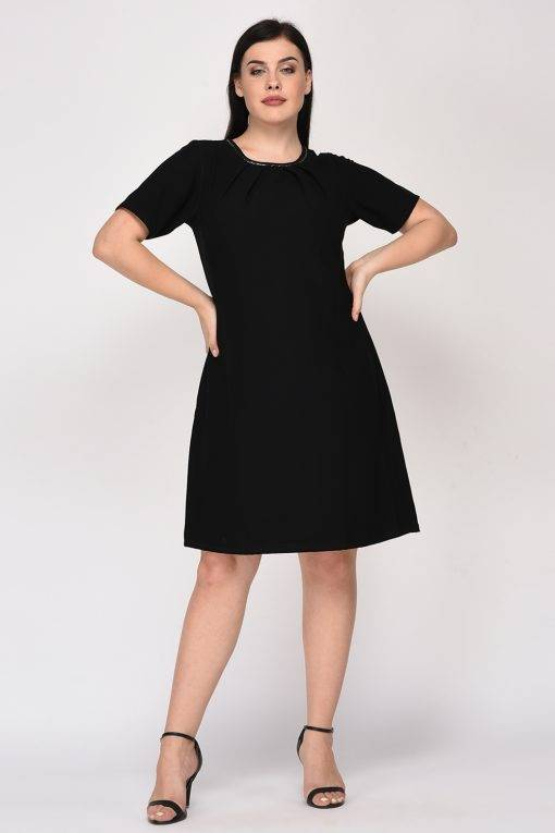Black A-Line Beaded Dress-5