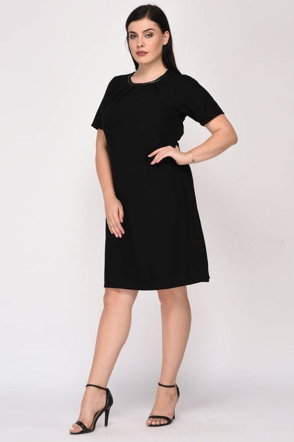 Black A-Line Beaded Dress-6