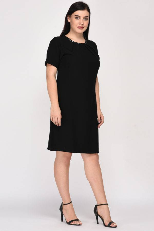 Black A-Line Beaded Dress-7