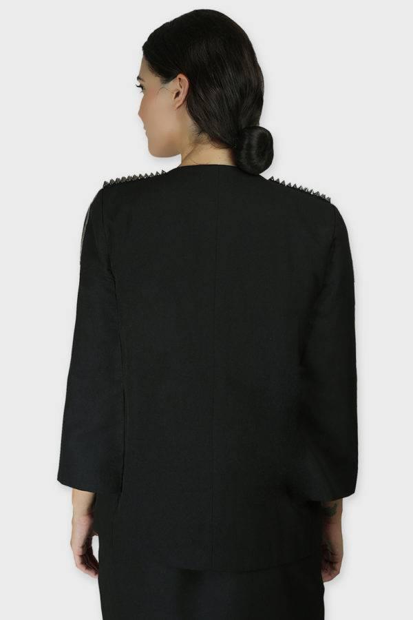 Black Rivet Sequin Cape Jacket1