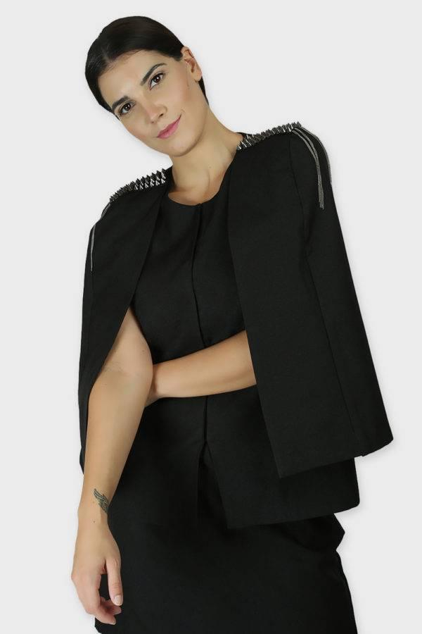 Black Rivet Sequin Cape Jacket5