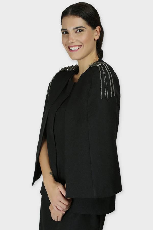 Black Rivet Sequin Cape Jacket6