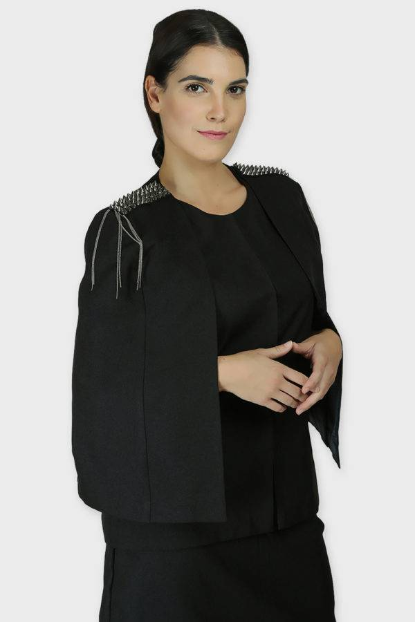 Black Rivet Sequin Cape Jacket7