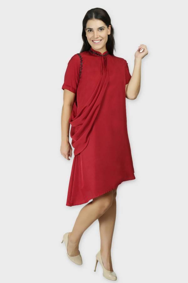 MAROON DRAPE DRESS3