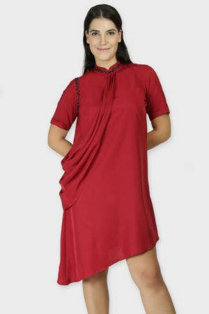 MAROON DRAPE DRESS6-featured