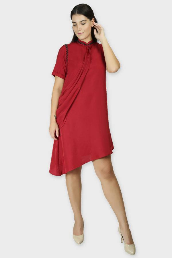 MAROON DRAPE DRESS5
