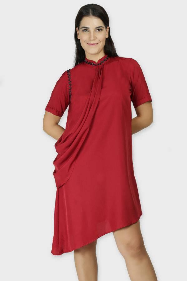 MAROON DRAPE DRESS6-featured