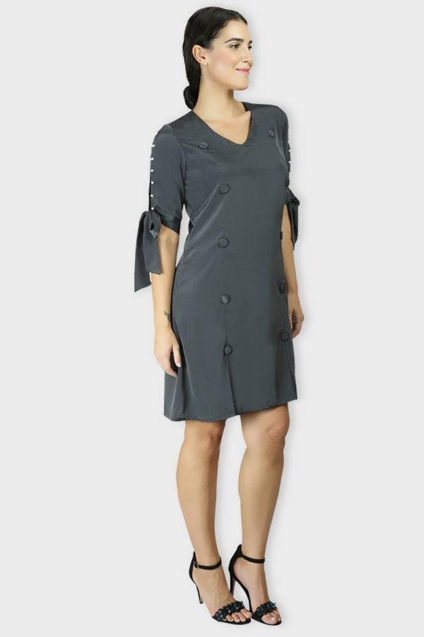 GREY A-LINE OXFORD DRESS