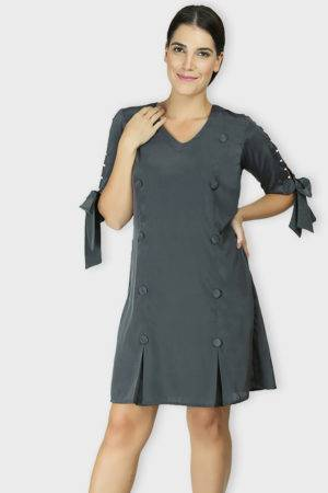 GREY A-LINE OXFORD DRESS8