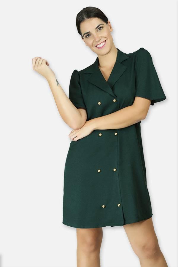 BOTTLE GREEN TRENCH DRESS2