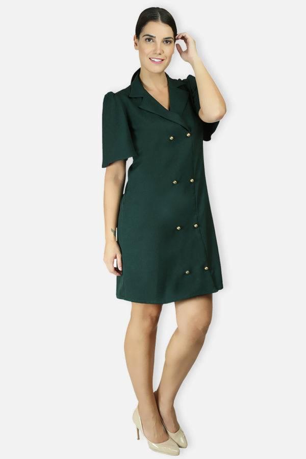 BOTTLE GREEN TRENCH DRESS4