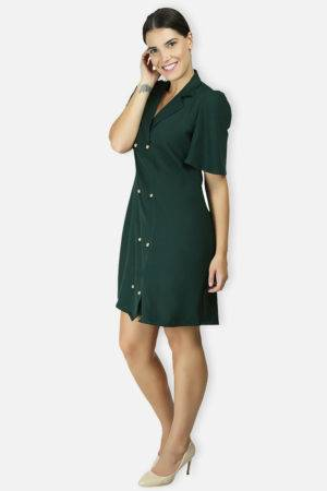 BOTTLE GREEN TRENCH DRESS5